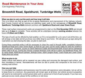 - Temporary Road Closure - Broomhill Road, Speldhurst
